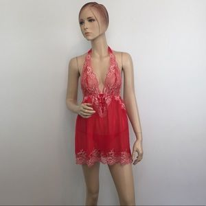 Victoria's Secret Red Lace Halter Babydoll & Thong